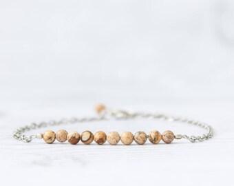 Landscape jasper bracelet, Jasper jewelry, Natural stone beaded bracelet, Jasper stone bracelet, Jasper gemstone jewelry