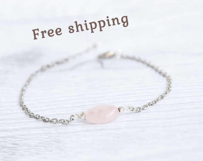 Rose quartz bead bracelet, Genuine rose quartz bracelet, Birthday present for women, Pink stone bracelet, Candy bracelet
