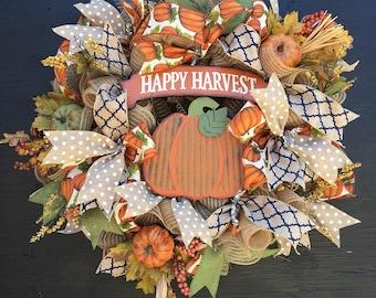 Fall wreath for front door, fall door wreath, fall wreath, thanksgiving wreath, pumpkin wreath, large fall wreath, rustic fall wreath,wreath