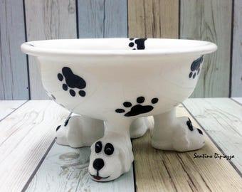 Elevated Dog Bowl, Walking Pottery, Elegant Pet Dish, Unique Dog Lovers Gift , Footed Pedestal Bowl, Personalised Ceramic, Pet Water Bowl