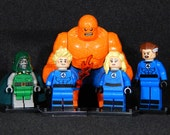 FF Fantastic Four Set Of 5 Custom Marvel Minifigures Thing Torch Dr. Doom Invisible Woman Mr. Fantastic Building Block Toy