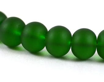Recycled Cultured Sea Glass Rondelle Beads Matte Shamrock Bottle Green 14x11mm