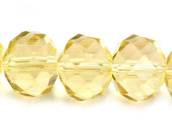 Chinese Crystal Super Large Rondelle Pale Sunny Yellow 18x14mm