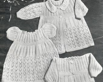 6 vintage PDF baby knit patterns, 1950s layette, baby shawl, carrying coat, matinee jackets, bootees, bonnets, rare collectible patterns