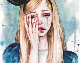 Original Illustration Alice in Wonderland. Sea of tears.