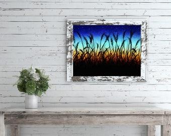 Landscape Sunset Art Print, Country Landscape Wall Art, Country Landscape Painting, Rural Art Print, Sky Sunset Art Print