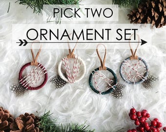 Dreamcatcher Christmas Ornaments, Ornament Exchange, Boho Holiday Decor, Bohemian Christmas Tree, Ornament Gift Topper,