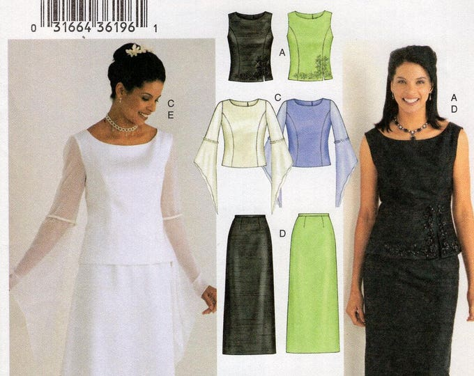 Butterick 3756 Sewing Pattern Free Us Ship Evening Length Dress Strapless Top Skirt Formal Size 6 8 10 Bust 30 31.5 32.5 Wedding Prom Uncut