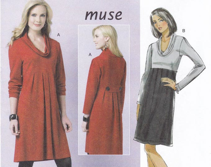 FREE US SHIP Butterick 5523 Sewing Pattern Muse Cowl Neck Empire High Waist Dress  Size 8 10 12 14 Bust 31.5 32.5 34 36 Factory Folded