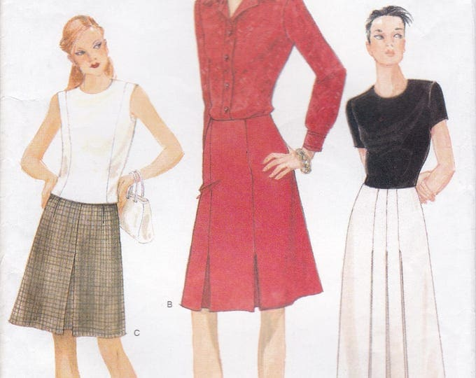 FREE US SHIP Vogue 9519 1990s 90s 1995 Inverted Pleat Skirt Size  20 22 24  Waist 34 37 38 Sewing Pattern Old Store Stock