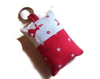 Keychains fabric, bag charm, Christmas, red, white, stars, reindeer