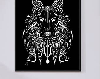 Arabic Calligraphy Wolf - Al Mutanabbi Poetry - Arabic Poetry - White and Black Calligraphy Art Print