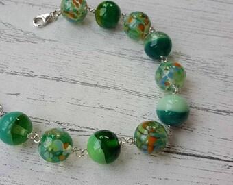 Swirled Glass Bracelet - Green Glass Bracelet - Lampwork Glass - Glass Beads - Beaded Bracelet - Two Tone Glass - Speckled Glass - UK Made