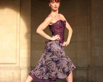 Ballroom - Tango Wrap skirt: Birds on Perch