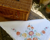 Vintage Linen Embroidered Tablecloth 123x124cm