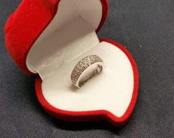 16.4 mm ring Silver 925 crystals vintage glitter heart SR940