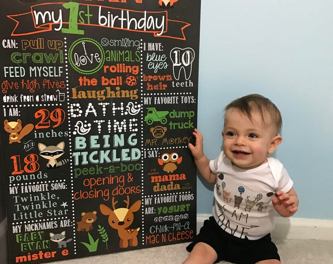 Woodland Birthday Chalkboard / Fox First Birthday Chalkboard / Boy First Birthday Chalkboard / Forest Birthday Chalkboard /Digital File Only