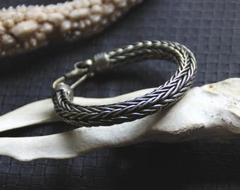 Braided Bracelet - White Brass - Ethnic - Boho - Gypsy - Unisex - Design - Metal - Industrial - Underground