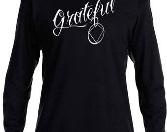 NA - GRATEFUL  - Long Sleeve T-Shirt - S-3X -Black  - 100% cotton.  Narcotics Anonymous