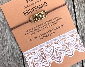 Rustic bridesmaid gift, Thank you for being my bridesmaid, Tie the knot bracelet, Fall wedding, Wish bracelet, Maid of honor gift, B5