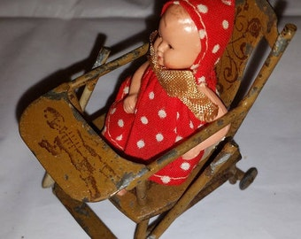 Miniature Painted Metal Highchair with German Celluloid Early Plastic Doll - Well Dressed