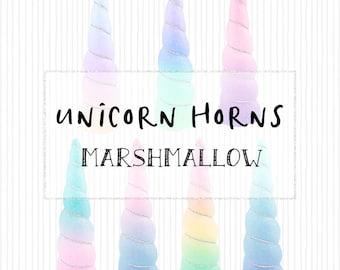 High Resolution Watercolor Marshmallow Unicorn Horns Fantasy Ombre Rainbow Pink Blue Purple Princess Unicorn Clip Art Magical Fantasy
