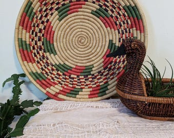 Red and Green Woven Basket / Wall Basket / Wall Hanging / Wall Decor