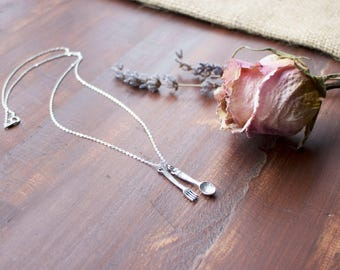 Sterling Silver | Fork & Spoon | Charm | Necklace | Choose Your Chain Length | Foodies | Gifts For Her
