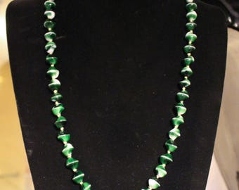 Vintage Green and White Glass Beaded Necklace