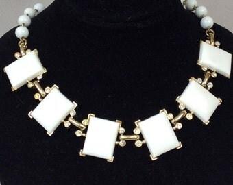 Kramer Silver Tone Milk Glass Rhinestone Link Necklace
