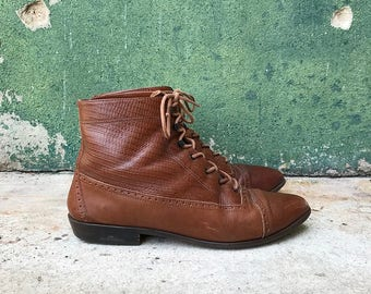 Vintage Brown Leather Lace Up Ankle Boots | 8.5