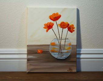 Orange Poppy Flower Original Acrylic Painting on 9x12 Canvas, Palette Knife Art, Abstract Wall Art