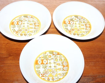 Set of 3 Mikasa Light & Lively Dina Bowls -- Yellow, Gold, Green, Rust -- Japan, Floral, Flower, Retro, Ceramic -- Soup, Cereal, Coupe, Dish