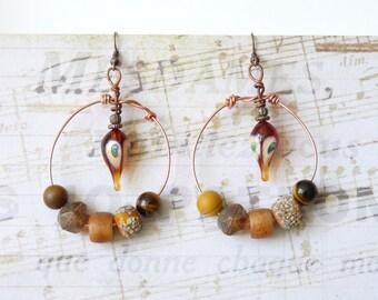 Bohemian Earrings, Boho Chic, Ethnic Tribal Gypsy Hippie, Copper Hoop Earrings, Lampwork Glass Bead, Womens Gift, Handmade, Beaded Earrings