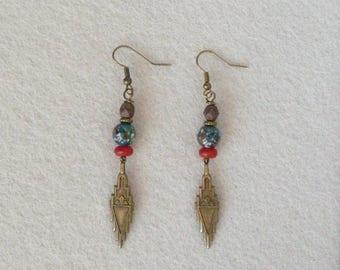Ethnic Earrings, Oriental Earrings, Art Deco Earrings, Vintage Earrings, Boho Earrings, Southwestern Jewelry, Tribal Earrings, Bohemian