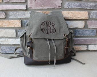 Canvas and Leather Backpack - Embroidered Backpack - Name Backpack - Bridesmaid Gift - Vintage Style Rucksack - Personalized Backpack - Gift
