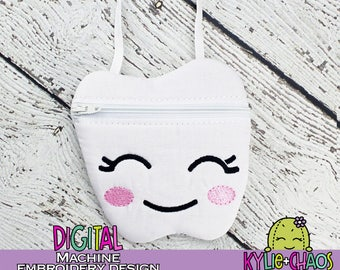 Tooth Fairy Zippered Pouch ITH In the Hoop Machine Embroidery Design Pattern