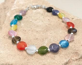 Multicolored bracelet, glass bead bracelet, Hill Tribe silver bracelet, unique bracelet, statement bracelet, boho bracelet, gift for her