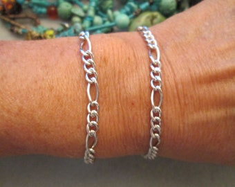 "Beautiful Sterling Silver Figaro Link Bracelet> Vintage 1970's> New Old Stock, never worn>> 7"" long> Lovely> Dainty"