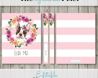 Editable Binder Cover, Watercolor Floral Binder, French Bulldog, Frenchie, Dog Binder, Editable Planner Cover