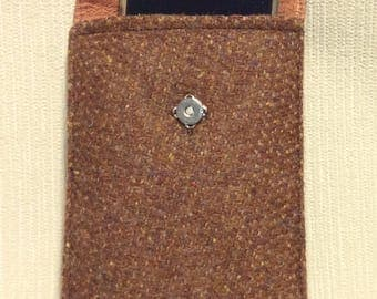 Welsh tweed phone case, cell case in brown