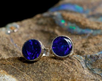 Australian Opal Doublet Round Stud Earings Pair 5mm Circle- Sterling Silver Electric Blue,  Natural Real Opal