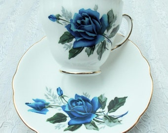 Gorgeous Blue Rose Duchess Tea Cup and Saucer Vintage