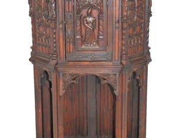 Antique French Gothic Cabinet, Oak, Scholar Carvings, Oak , Circa 1910 #8309