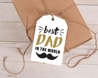 Father's Day Gift Tags, Father's Day Tag, Fathers Day Gift Tags, Printable Father's Day Tags, Best Dad In The World, INSTANT DOWNLOAD