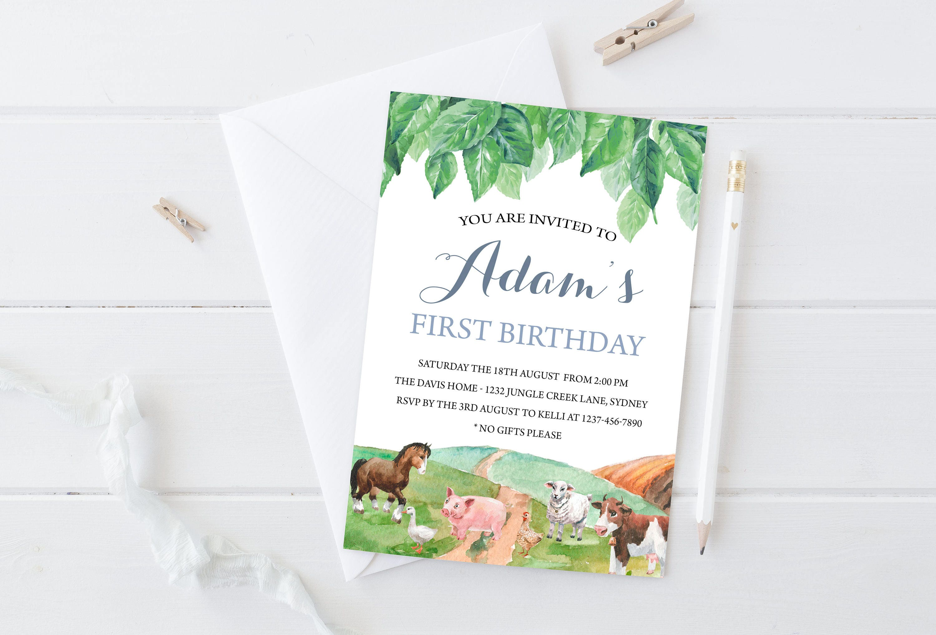 Printable Farm Invitation, Farm Animals Invitation, Farm Birthday ...