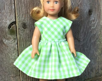 Doll clothes for 6 inch mini doll: green gingham dress