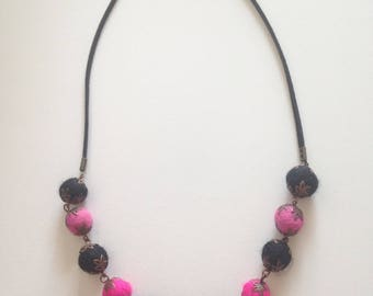 Necklace felted beads, black and pink and black suedine cord