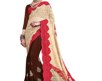 Indian Designer Beige And Brown Colored Georgette And Rasal Net Saree Formal Bridal Saree Party Wear Saree for Women