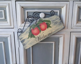 Red Apple Fruit Front Door or Patio Vintage Small Welcome Sign -  Kitchen American Folk Art Sign - One of A Kind New Home Housewarming Gift